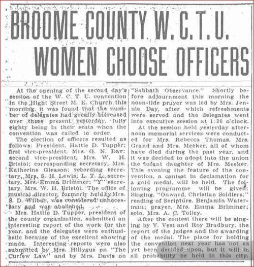 Mrs. Meeker Memorial Service WCTU Grandma Inducted Lavina Position 1904