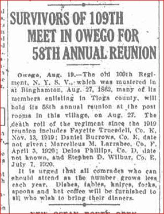 109th 1920 reunion without stephen