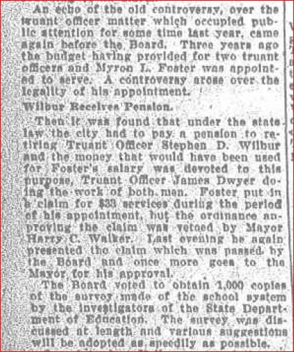 Truant officer controversy may 14 1919
