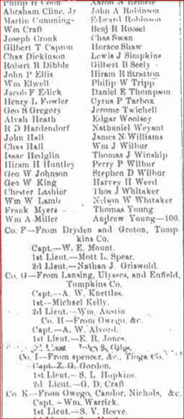 List of soldiers 109th Broome Republican September 3 1862 d