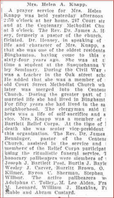 Honorary Pallbearer January 22 1919 Helen Knapp