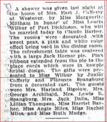 Marguerite Millham Gives Leoria Wilbur Bridal Shower