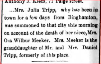 Death of Leoria Meeker Owego Record