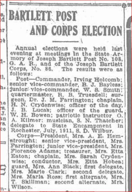 Bartlett Post and Corps Election