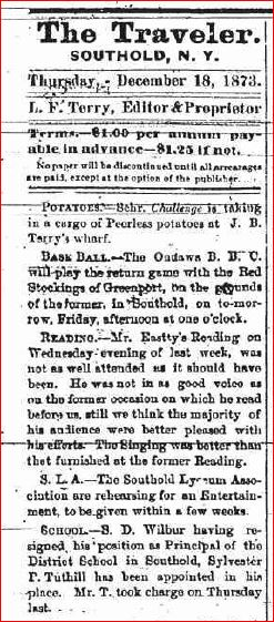 December 18 1873 Resignation