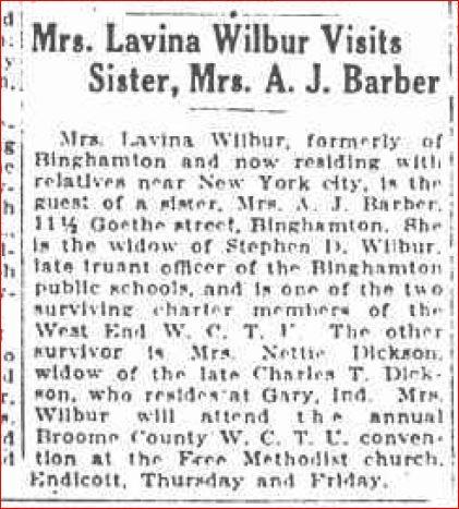 Lavina visits mrs a j barber September 10 1930