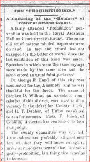 County Clerk Nominee Prohibition Ticket