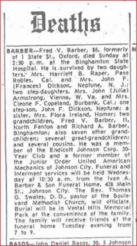 November 25 1963 Obit Granddaddy Barber Fred V