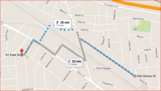 Walking route to 244 clinton
