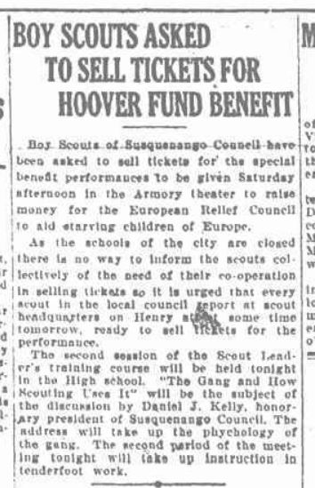 Boy Scouts January 27 1921 no family mention school out of interest