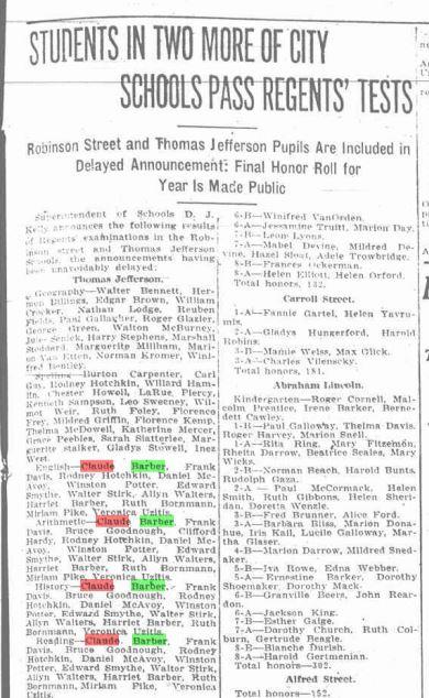 BP July 6, 1917 Claude Barber Passes Regents Exams