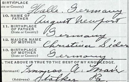 Christina Sider on William Newport Death Certificate 1921