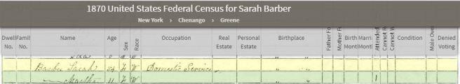 1870 Census Sarah Barber