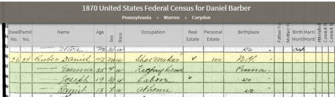 1870 PA Census Daniel Barber